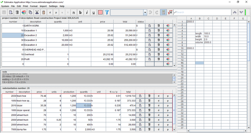 Software for construction - Construction Estimation Screenshot