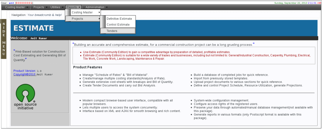 Software for construction, Construction Management main-page