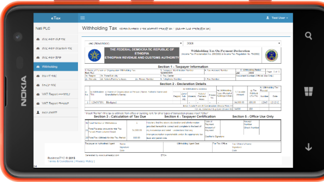 TYC eTax system. A simple way to declare tax to ERCA