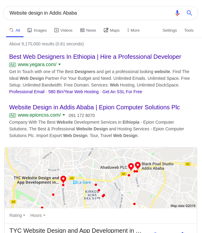 "TYC SEO rank for the ""website design in Addis Ababa"" keyword."